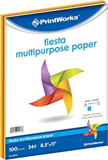 Printworks Fiesta Bright Colored Paper, 24 lb, 4 Assorted Colors, FSC Certified, Perfect for School and Craft Projects, 100 Sheets, 8.5 x 11 Inch (00578)