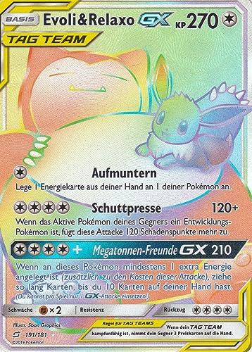 191 181 - Evoli&Relaxo GX - Secret Rare GX - Pokemon - Deutsch - Teams sind Trumpf