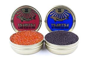 LIMITED TIME OFFER! Caspian Tradition RUSSIAN Style TSARITSA FRESH Salmon & Bowfin Malossol CAVIAR 2 x 8oz tins