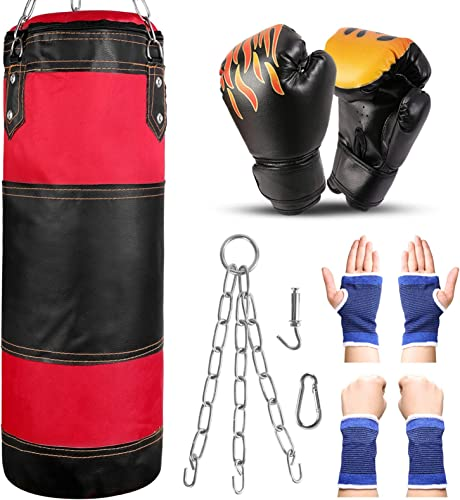 popular Odoland discount 7-in-1 Punching Bag Heavy Bag UNFILLED Set with outlet sale 6oz Punching Gloves and Hand Wrist Protective Sleeves for Kids Youth, 2FT MMA Muay Thai Boxing Heavy Punching Training Bag online sale