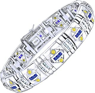 Men's Sterling Silver .925 Bracelet with Azure Blue, Canary Yellow and White Cubic Zirconia (CZ) Stones, Box Lock, Platinum Plated. 8