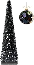 YuQi 5' Round Sequins Decorated Pop-Up Artificial Black Christmas Tree,Collapsible Pencil Christmas Trees for Apartments,D...