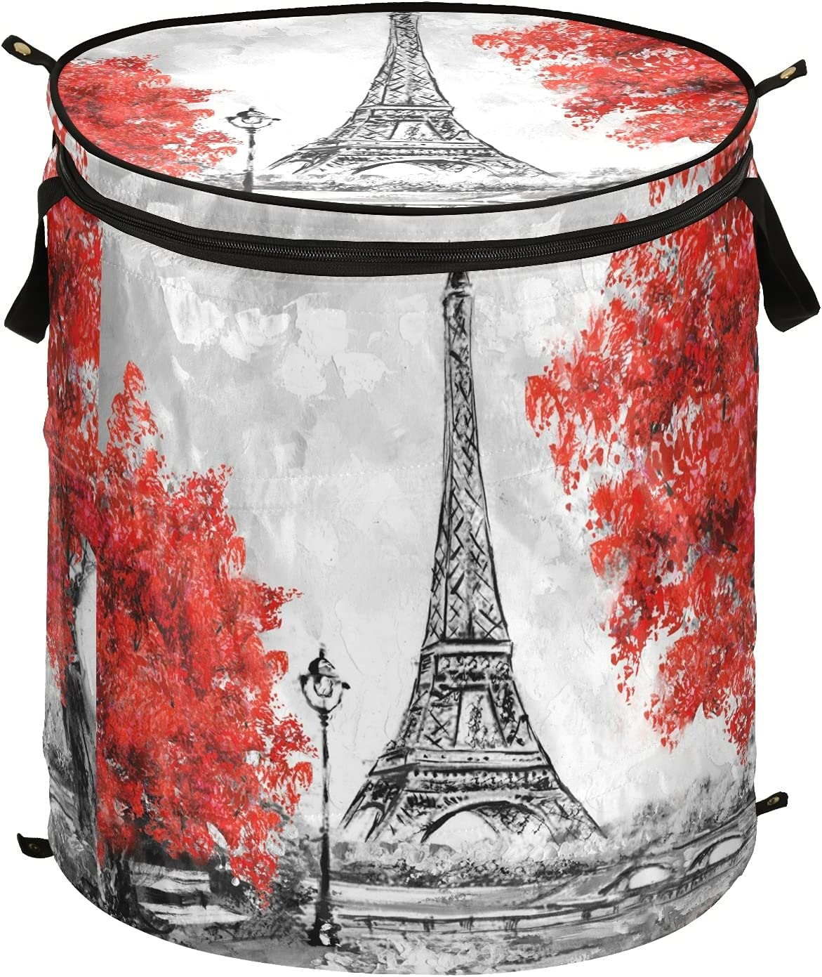Paris Eiffel Tower Pop Up Laundry Hamper security Foldable Stora Indianapolis Mall with Lid