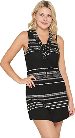 Dahlia Stripe Lace-Up Front Tank Dress Cover-Up