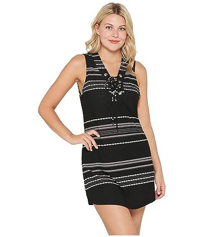 DOTTI Dahlia Stripe Lace-Up Front Tank Dress Cover-Up (Black/White) Women