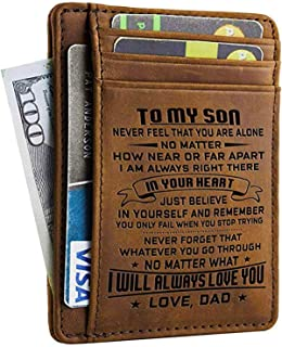 dad to son engraved wallet card