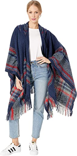 Plaid Hooded Poncho