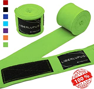 Liberlupus Boxing Hand Wraps for Men & Women, 120 & 180 Inches Wraps for Boxing Gloves, Handwraps with Hand & Wrist Support for Boxing Kickboxing Muay Thai MMA