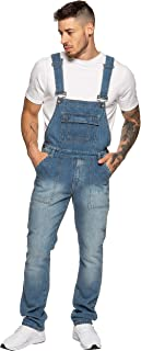 Enzo Jeans Mens Denim Blue Dungarees Stonewash Dungaree All Waist Overalls