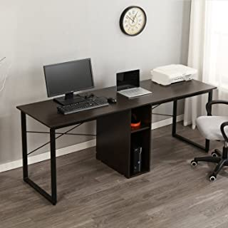 soges Large Double Workstation Desk, 78 inches Dual Desk 2-Person Computer Desk, Home Office Desk Writing Desk with Shared Storage, Black LD-H01