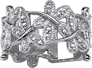 Platinum Plated Genuine Diamond Accent Butterfly Band Ring