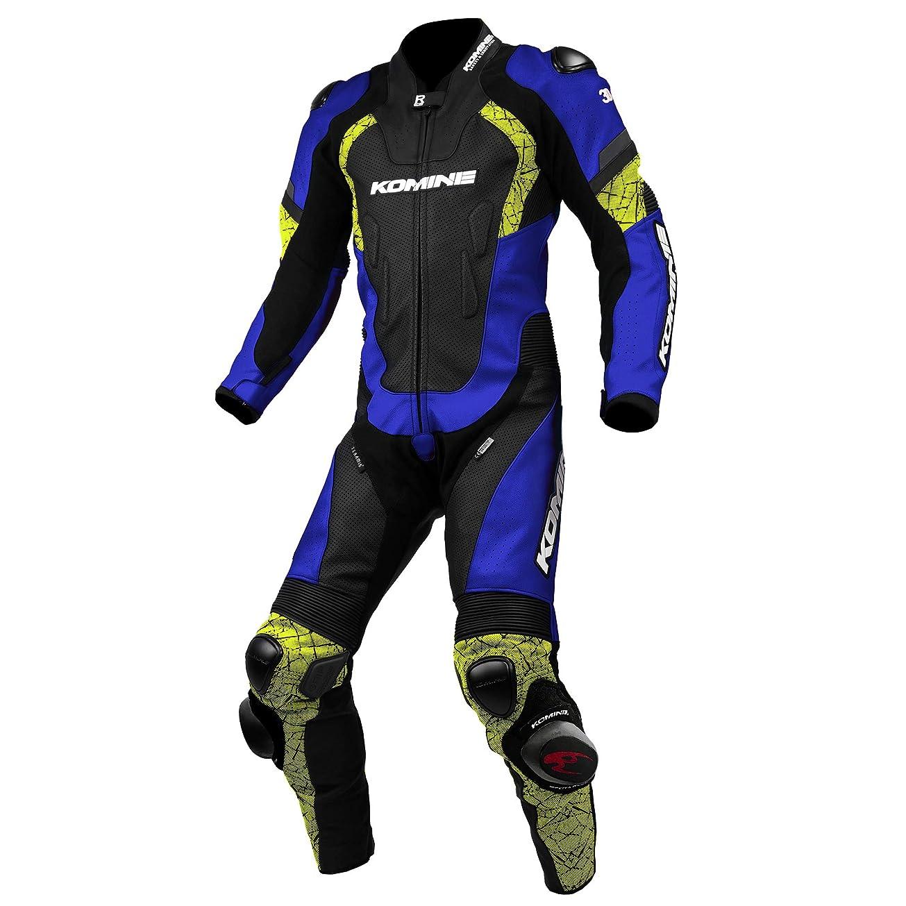 季節広範囲薄めるコミネ KOMINE バイク レーシング レザー スーツ プロテクター 革 本革 つなぎ レース Blue/Neon M S-52 02-052