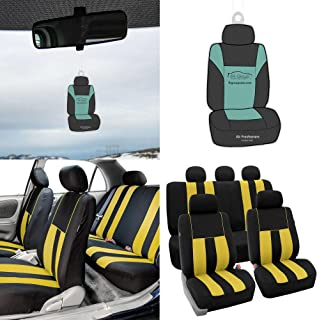 FH Group FH-FB036115 Striking Striped Seat Covers Airbag & Split Ready, Yellow/Black Color - Fit Most Car, Truck, SUV, or Van