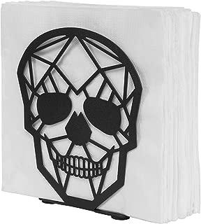 MyGift Matte Black Skull Design Metal Napkin Holder