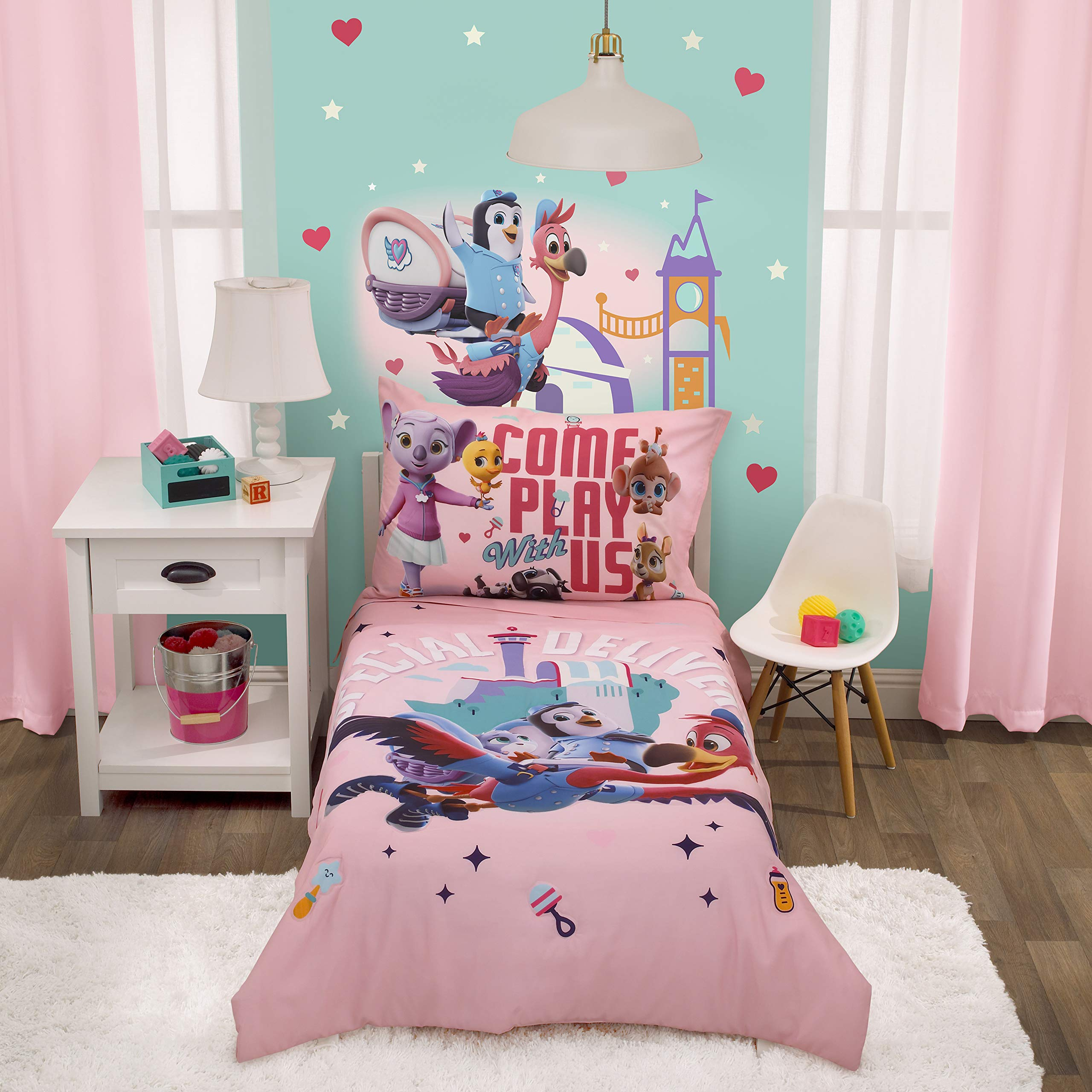 Disney T.O.T.S Special Delivery Pink, Teal, Purple & Brown 4Piece Toddler Bed Set - Comforter, Fitted Bottom Sheet, Flat T...