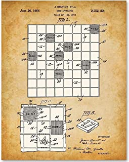 Scrabble Board Game - 11x14 Unframed Patent Print - Makes a Great Gift Under $15 for Game Room Decor