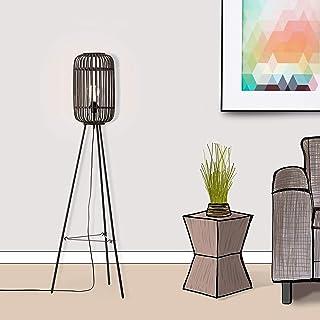 Lampadaire décoratif Nature - Trépied - 1 ampoule E27 max. 40 W - En métal/rotin - Noir