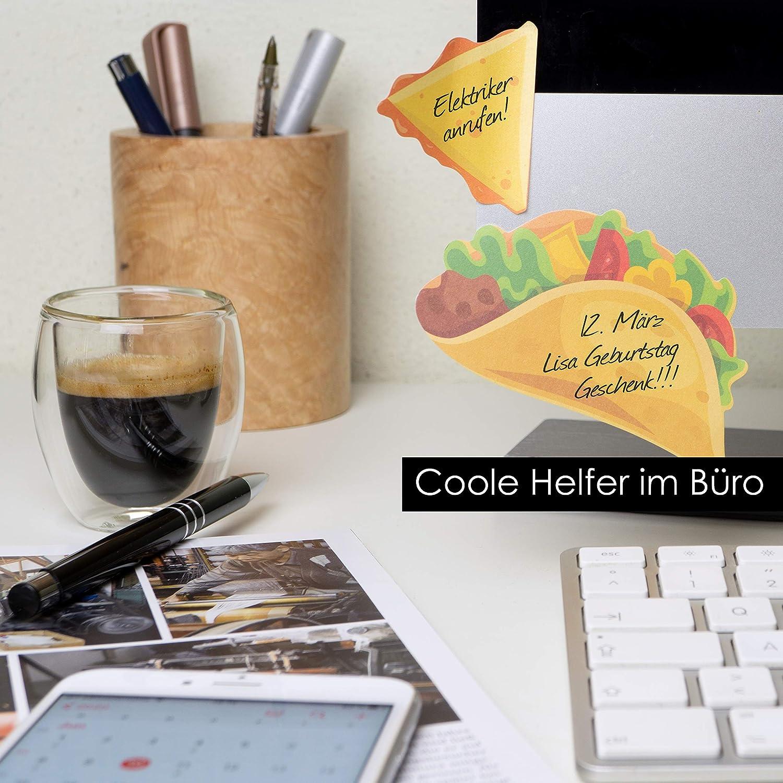 Bloc Notas adhesivas Ideal para Estudiantes y Como Accesorio de Oficina Patatas Fritas OfficeTree Blocs de Notas Adhesivas 5 x 90 Hojas Cada Bloc