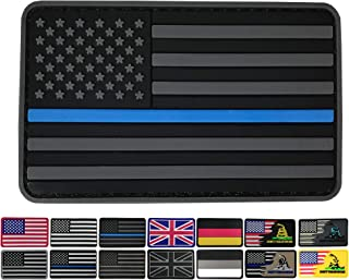 3.15x1.97 inch American Flag Patch Black and Gray USA Police Patches PVC Rubber Patch Police Patch 3D Pride Moral Patch Clothes Patch Backside Tactical Patches Patch for Military Uniform, Tactical bag