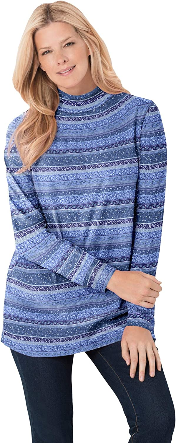 Woman Within Women's Plus Size Perfect Printed Long-Sleeve Mock-Neck Tee Shirt