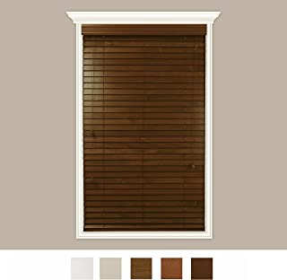 Luxr Blinds Custom-Made Real Wood Horizontal Window Blinds with Easy Inside Mount - 52