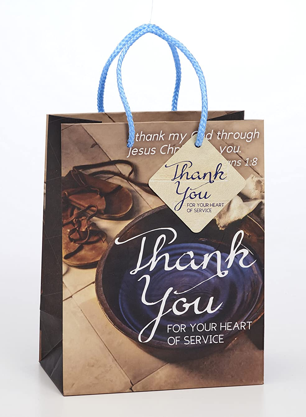 Thank Your Heart Service 7 x 9 Inch Paper Gift Bag with Tag Pack of 2