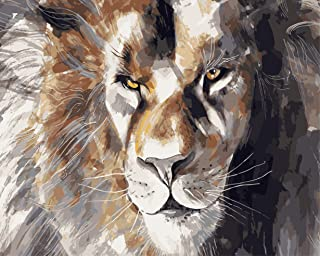 FAVOREADS Paint by Numbers Kit: Gorgeous Lion   DIY Canvas Painting for Adults & Kids   Pre-Printed Canvas, 3 Brushes & Ac...
