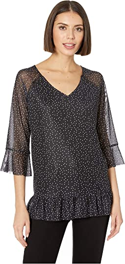 Printed Mesh 3/4 Sleeve V-Neck Trop with Frill