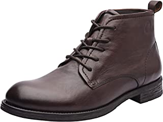 Allonsi Amaud Formal Genuine Leather Classic Plain Toe Chukka Men's Boots with Low Heels and TPR Sole
