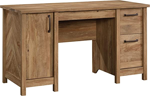 Sauder 424193 Cannery Bridge Computer Desk Sindoori Mango Finish Featuring Herringbone Pattern Sides