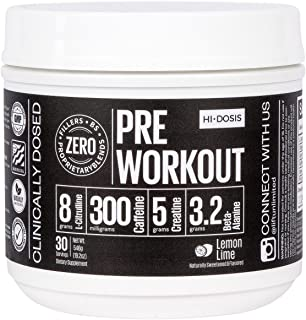 Hi-Dosis PRE Workout - All Natural Clinically dosed & formulated preworkout powder for men & women. Strongest supplement around to enhance your workout strength & endurance (Super Sour Lemon/30 Serv.)