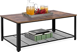 Best Choice Products 42in 2-Tier Rustic Industrial Coffee Cocktail Table, Living Room Accent Furniture w/Wood Finish Top, Metal Mesh Storage Shelf, Adjustable Feet