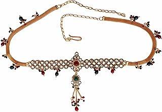 Jewbang Gold Plated Kundan Red & Green Beads Waist Belt Belly Chain Traditional Set For Women Jb852