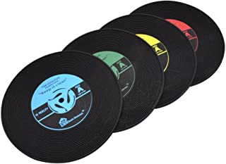Coasters 6pcs/set, KOOTIPS Drink Coasters with Gift Box - Vinyl Record Retro Mats, Good Grip, Tabletop Protection Prevents Furniture Damage