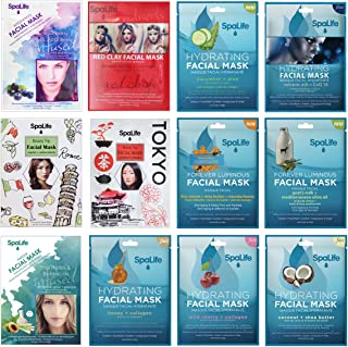 SpaLife Korean Hydrating Facial Masks - 12 Pack Combo