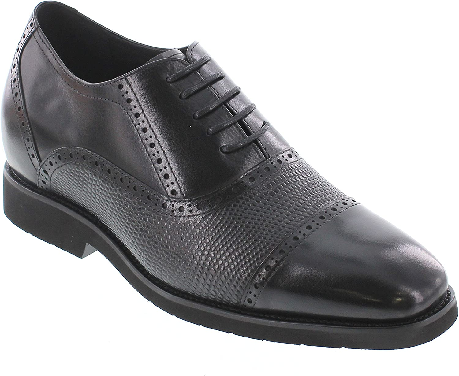 CALDEN - K320021-2.8 Inches Taller - Height Increasing Elevator shoes-Black Leather Cap-Toe