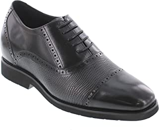 Men's Invisible Height Increasing Elevator Shoes - Black Leather Lace-up Lightweight Formal Dress Oxfords - 2.8 Inches Taller - K320021