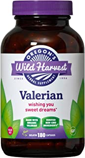 Oregon's Wild Harvest Non-GMO Organic Valerian Capsules Non Habit Forming Herbal Sleep Aid, Melatonin Free, 180Count