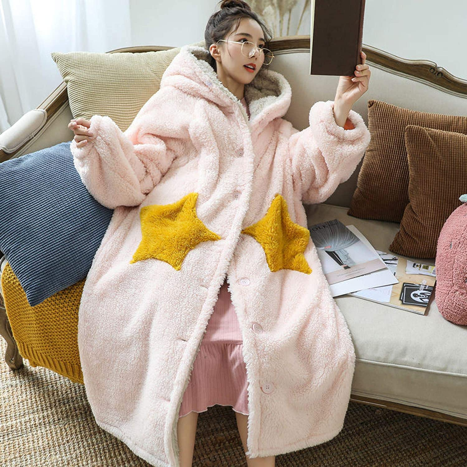 STJDM Selling Nightgown Robes Women Kawaii Pink Coral Sale special price Hooded Warm Sweet