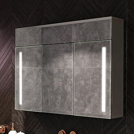 Artforma Armoire pour de Salle de Bain avec Miroir et Éclairage LED avec 3-Porte (100x72x16,6 cm) | 17 décors au Choix | Armoire Murale