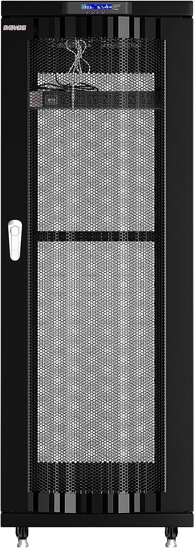 Server Rack - Locking Cabinet - Network Rack - Av Cabinet - 37 U - Vented Doors Rack Mount - Free Standing Network Rack- Server Cabinet - Caster Leveler - Rack Shelf - Cooling Fan - Thermostat - PDU