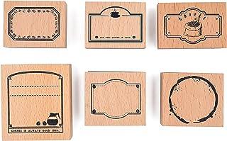 MissOrange『木製ゴム印セット』コーヒー フレームスタンプ クリエイティブスタンプセット クラフトカード スクラップブッキング 手帳用 6個セットM-49