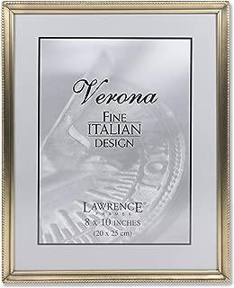 Lawrence Frames Antique Brass 8x10 Picture Frame - Bead Border Design