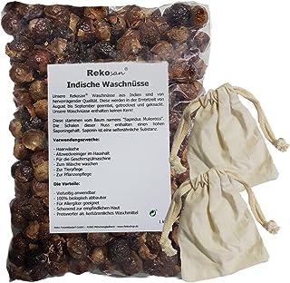 Rekosan Indische Waschnüsse 1 kg plus 2 Portionsbeutel aus Baumwolle für die Waschtrommel