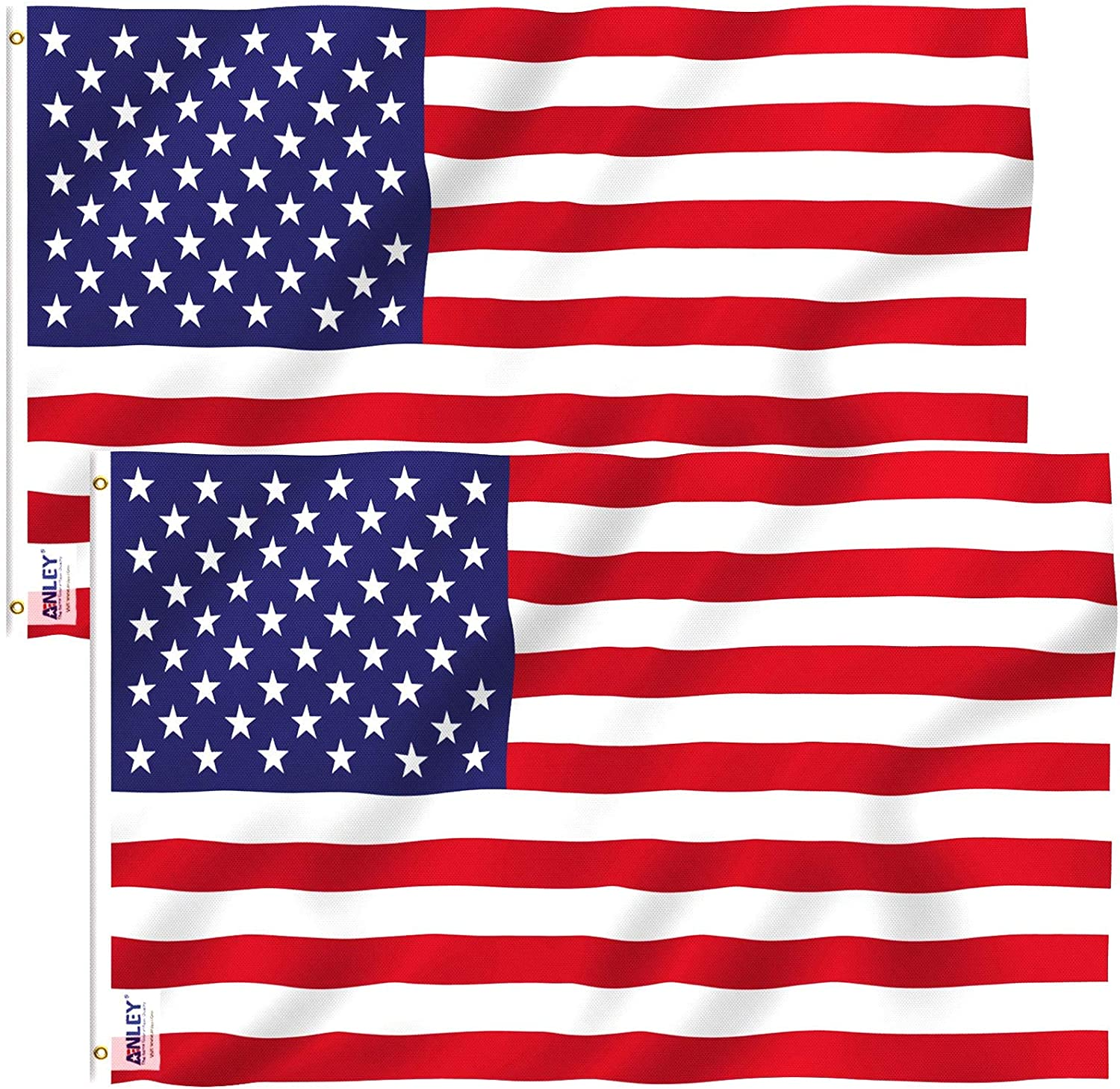 Anley Pack of 2 Fly Breeze 3x5 Attention brand Max 59% OFF - American US Foot Polyester Flag