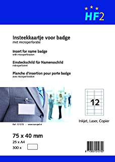 HF2121270A4/210x 297mm Badge Insérer Recharge (Lot de 25feuilles)