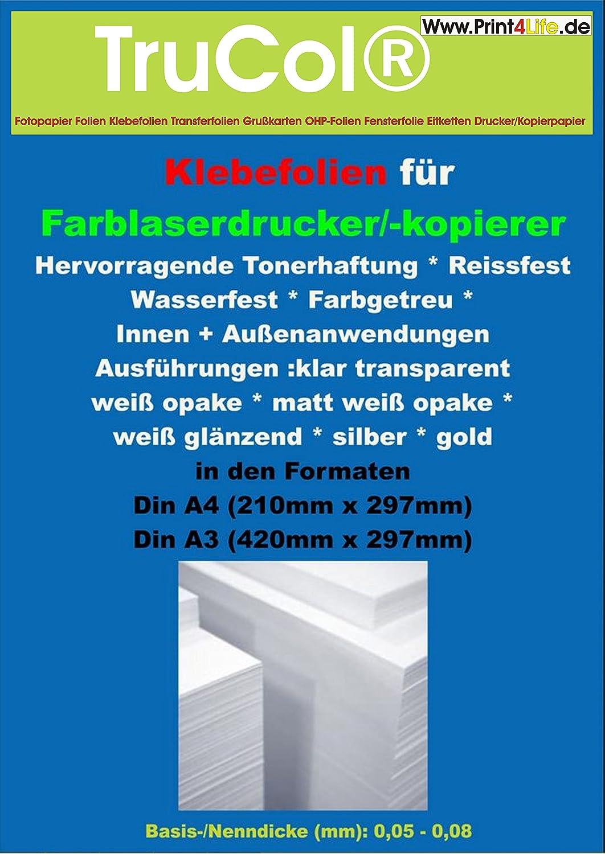 12x A12 selbstklebend glänzend KLARE transparente Polyester  Folie  Klebefolie Druckerfolie zum Bedrucken, Wetterfest, Outdoor für Laserdrucker  + ...