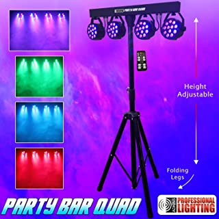 Party Bar Quad - LED DJ Lighting - Includes Stand, 4 - 12x3W RGB Pars and a Remote Control.