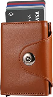 Minimalist Slim Leather Credit Card Holder RFID Aluminum Ejector Wallet for Men Women - brown - Medium
