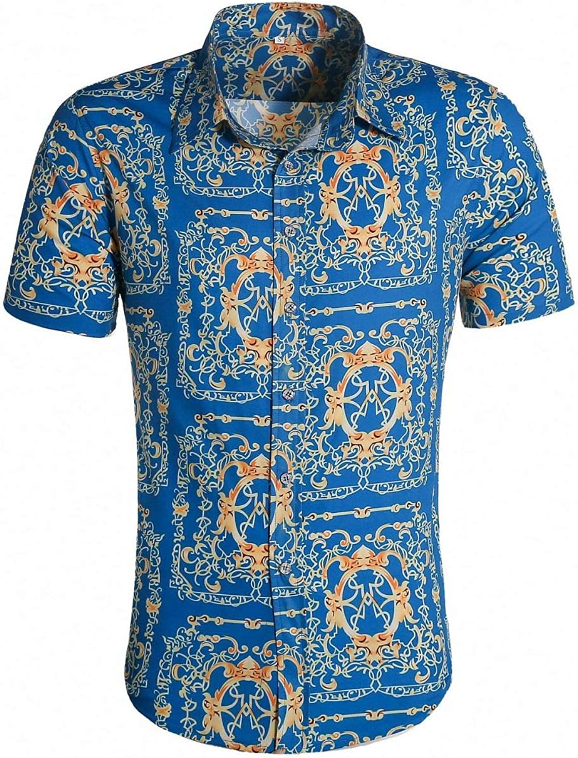Luandge Men's Trend Printing Daily bargain sale Short-Sleeved F Shirt Notched Max 54% OFF Lapel